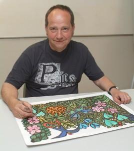 John Baker working on 'Garden of Eden'